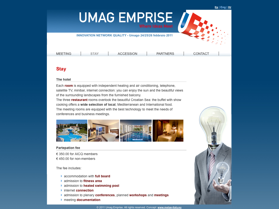 Web design: Home page Sito internet Umag Emprise