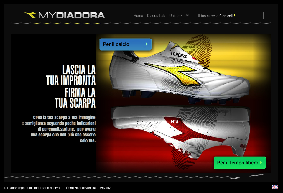 Web design: realizzazione portale web MyDiadora