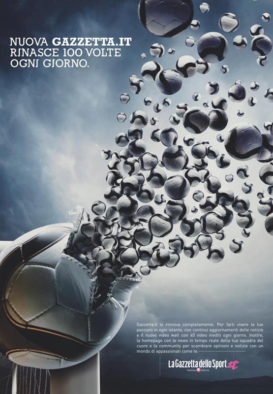 Pallone da calcio Diadora riprodotto su campagna pubblicitaria Gazzetta dello Sport